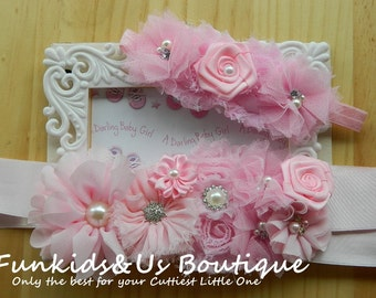 Pink Flower girl  Sash-   Maternity Sash,Bridal Sash,  Newborn Photoprop, Belly Belt