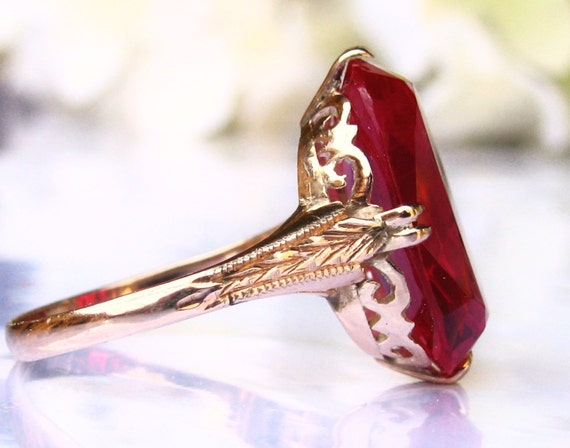 Large Vintage Ruby Engagement Ring 14k Yellow Gold Art Deco
