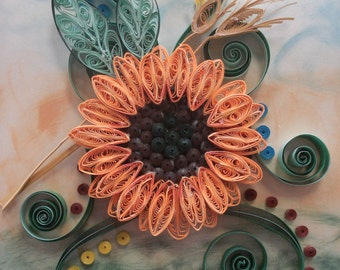 OOAK Sunflower Wall Art, Paper Art Flower, Flower with Leaves, Handcrafted Housewarming Gift, Wall Art Decoration
