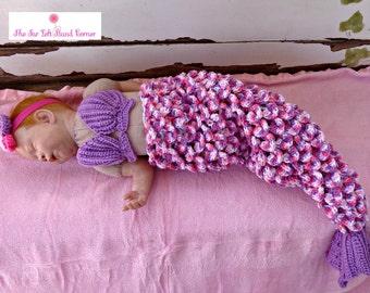 Newborn Crochet Mermaid Cocoon Photo Prop 3 Piece Set