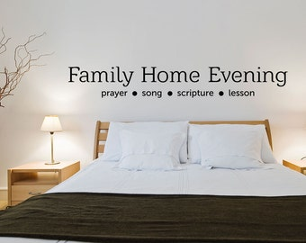 Christian Vinyl Wall Decal | Family - Home - Evening