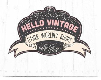 Hand Drawn Logo Design - Customizable - Sign - Blush Pink - Vintage - Seal - Watermark - Flourishes - Photography - Blog