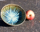 Ocean Green Drip, Pasta Bowl, Etched Stripes, Green with brown strips, Salad Plate, Stoneware, Hand Painted, Ready To Ship