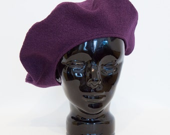 New Hand Made purple Boiled WOOL BERET TAM Hat Women Made in Canada
