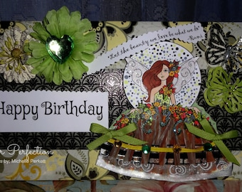 "Michelle Perkett ""Fairy Flowers Autumn Wings"" Hand Made Card"
