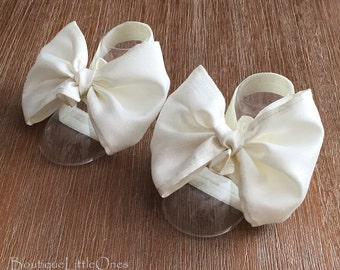 Ivory Baby Barefoot Sandals Baby Wedding Sandals Elegant Baby Shoes Baby Shower Gift Fabric Baby Shoes - 'Lauren' in Ivory