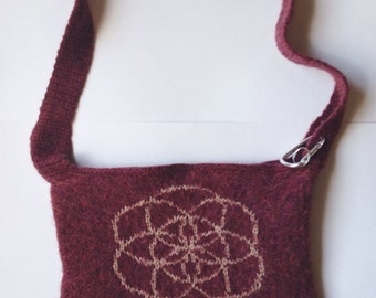 Sacred Geometry Purse, Felted Bag