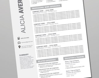 Resume Template Download Editable - Cover Letter, References - Instant Download Microsoft Word - Gray, Black, White (Alicia Template)