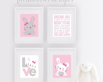 Rabbit Bunny Nursery Art - Rabbit Art - Rabbit Decor - Bunny Nursery Print - Girl Bedroom - Bunny - Girl Rules - Girl Nursery Art - NS-704