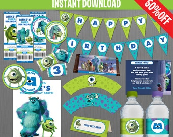 Disney Monsters Inc. Birthday Party Collection - Instant Download and Edit with Adobe Reader
