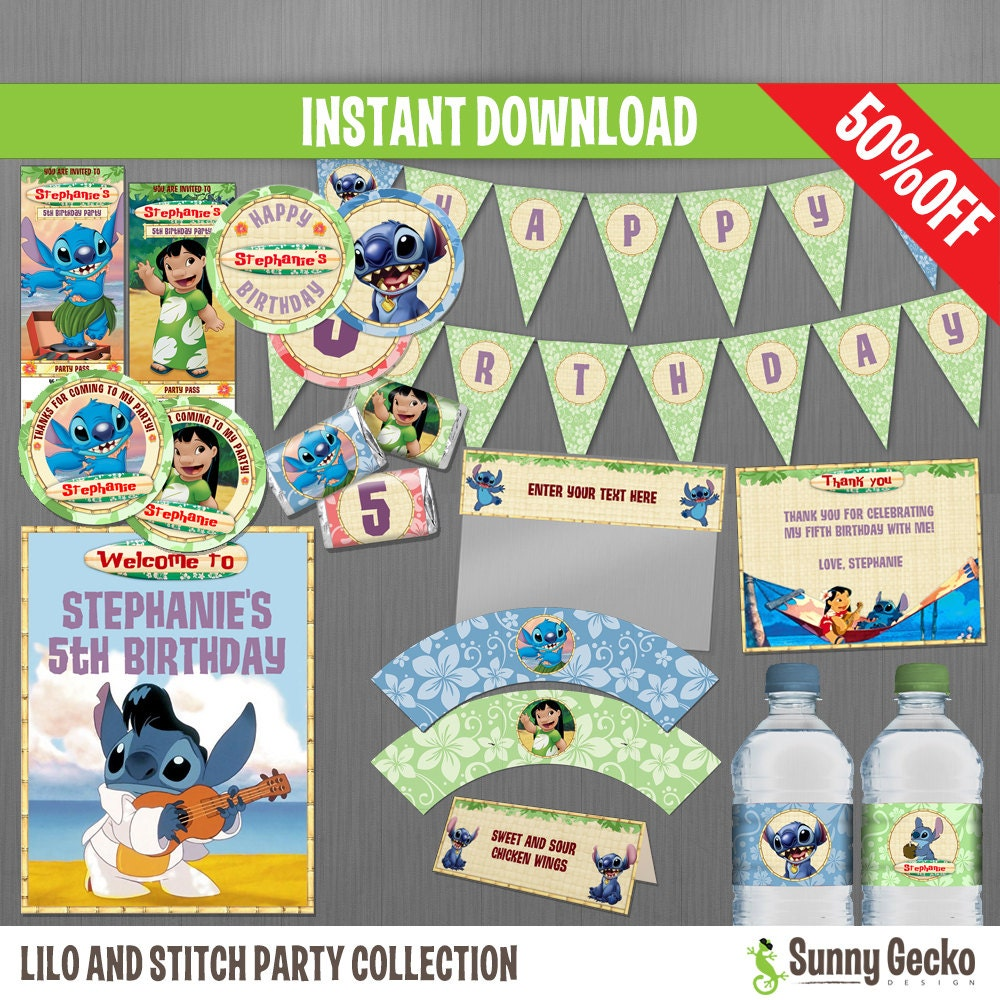 Lilo And Stitch Birthday Banner Lilo And Stitch Baby: Disney Lilo And Stitch Birthday Party Collection Instant