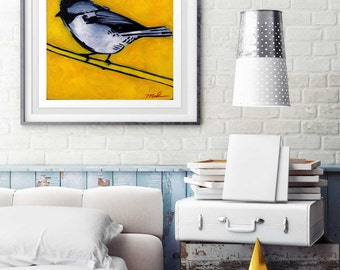 Bright Yellow Chickadee Print, Fine Art Giclee in Multiple Sizes, High Quality Paper, Bird Art, Bird Print, Bird Wall Hanging