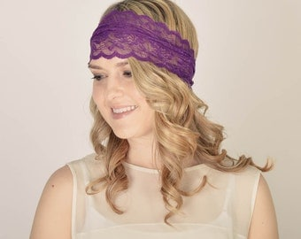 Lace Headband, Sheer Lace, Women's Hair Bands, Periwinkle, Fashion Accessories, Cute Headband, Scalloped, Headband in Lavender