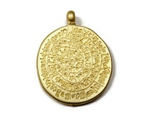 Wiccan Charms, 24K Gold Plated Magical Pagan Runes Pendant - CCG002