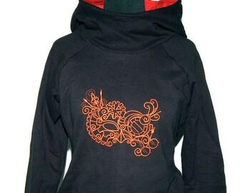 Steampunk Raglan Hoodie - mask - size XS - black copper