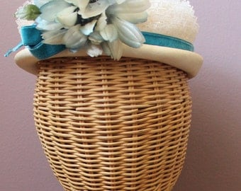 Vintage 50'S Pillbox Hat Jade VELVET Big Flower Wedding Cake LACE Norman Durand