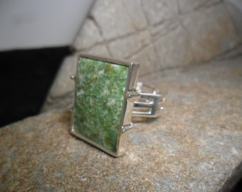 Sterling silver adorned with a Wyoming jade ring