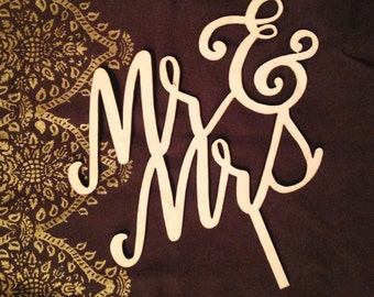 "Decorative Mr & Mrs Laser Cut Wood Cake Topper 1/8"" thick - Mr and Mr - Mrs and Mrs"