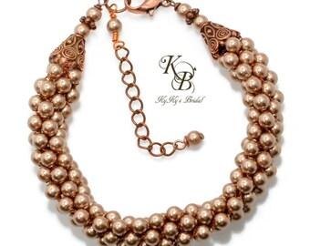 Copper Bridesmaid Bracelet, Wedding Jewelry, Bridesmaid Jewelry, Woven Bracelet, Kumihimo Bracelet, Pearl Bridesmaid Jewelry, Wedding, Bride