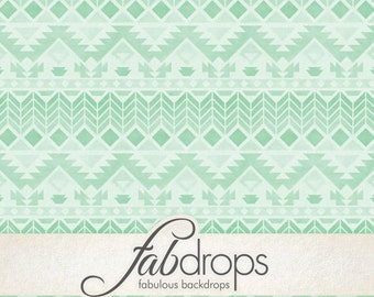 Green Tribal Pattern Photography Backdrop (FD2198)