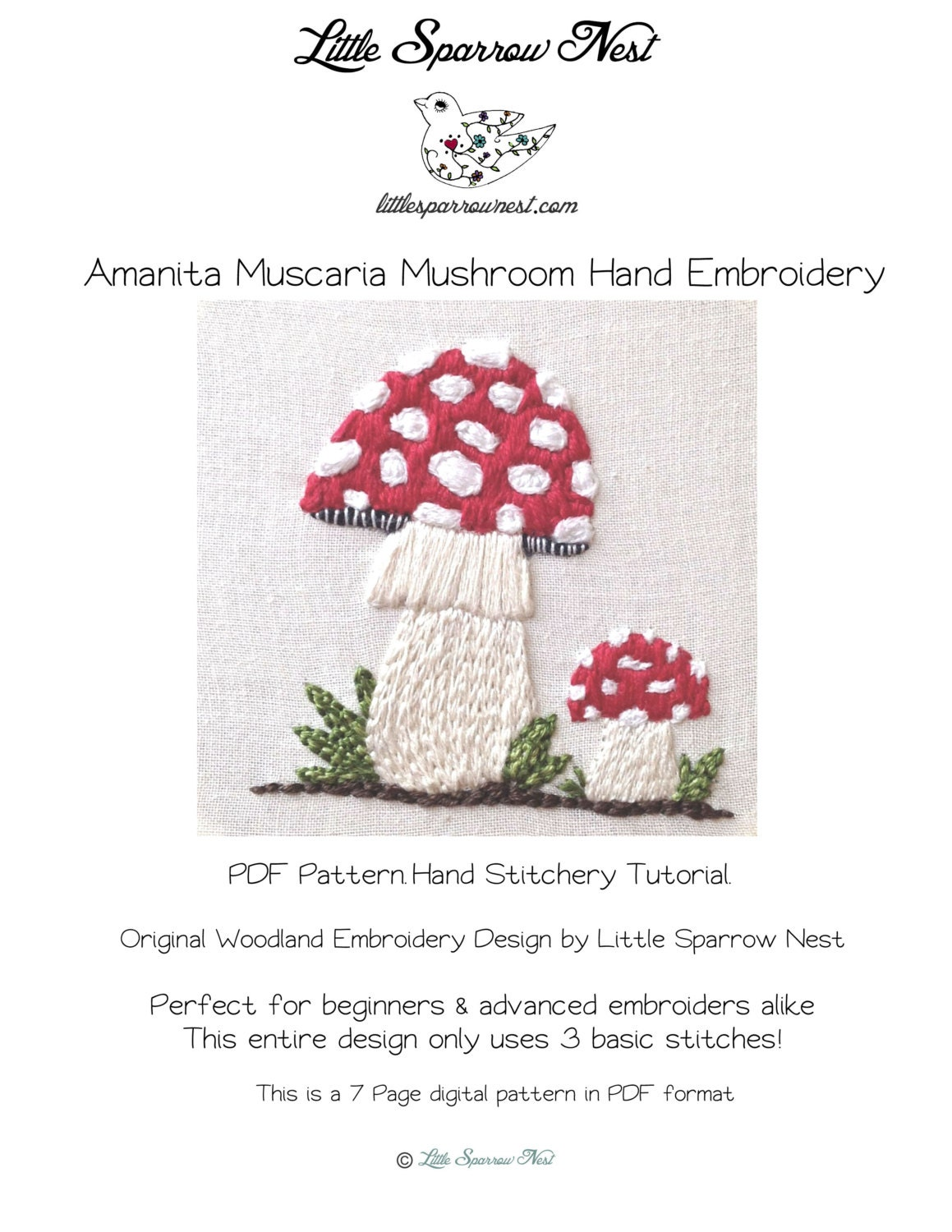 Woodland mushroom cute hand embroidery pattern and