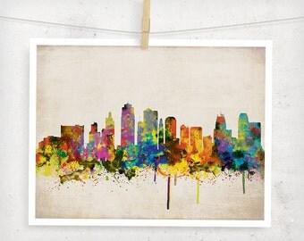 Kansas City Skyline, Digital Watercolor Art Print. Modern Home Decor ,No,271