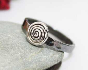 Spiral Of Life, Sterling Silver Whirlwind Ring, Silver Stacking Ring, Hammered Ring, Simple Ring, Silver Ring, Wedding & Engagement