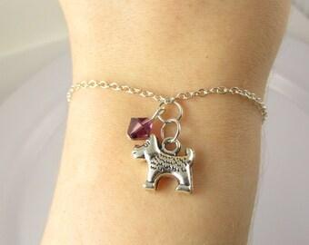 Dog Bracelet- choose a birthstone, Dog Jewelry, Silver Dog Bracelet, Silver Dog Jewelry, Dog Charm Bracelet, Dog Charm Jewelry, Dog Gift