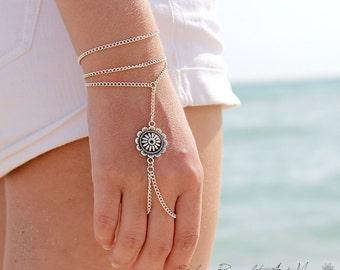 Flower Slave Bracelet Hand Wrapped Chain  Bohemian Boho Chic Boheme Hippie Vintage Hand Body Jewelry