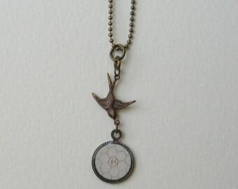 SALE! Woodland Bird Necklace, Bird Charm, Hand made charm
