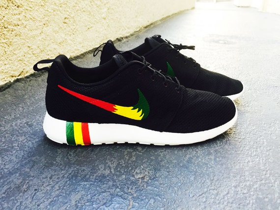 fvddo Womens and Mens Custom Rastafari color Nike Roshe by CustomSneakz