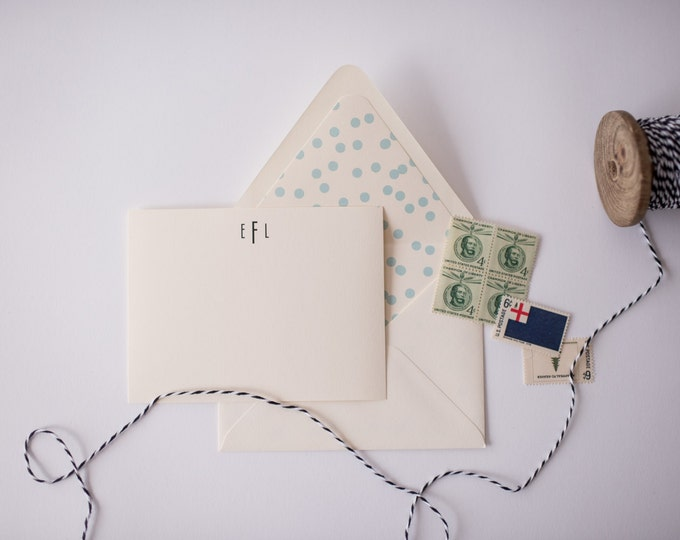 personalized monogrammed stationery set - flat note cards & lined envelopes (sets of 10)  // thank you cards // lola louie paperie
