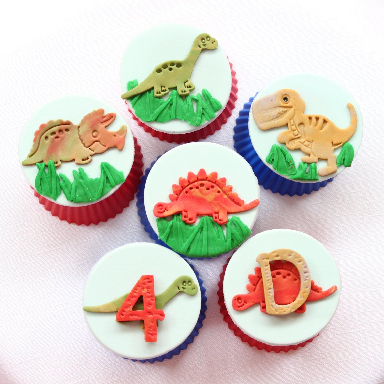 12 dinosaur cupcake toppers edible fondant cake by ...