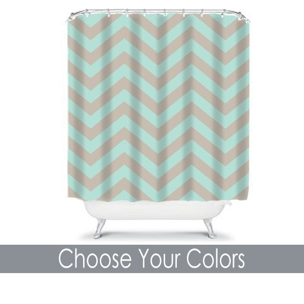 Chevron Aqua Taupe SHOWER CURTAIN Custom MONOGRAM By TRMDesignShop