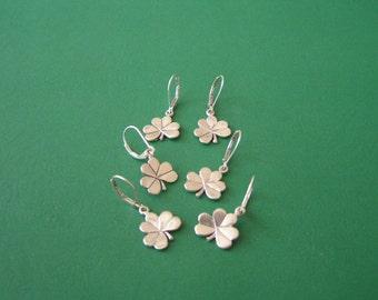 Sterling Silver Shamrock Earrings, Shamrock Earrings, Sterling Silver Four Leaf Clover Earrings, Vintage Silver Shamrock Earrings