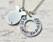 Just keep swimming - Inspirational quote - Goldfish necklace - Washer necklace - Hand stamped jewelry