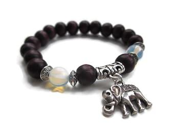 Elephant bracelet, Opal bracelet, wooden beads bracelet, UK Seller