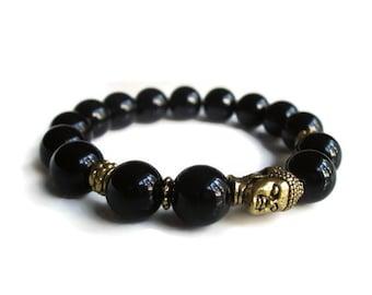 Mens bracelet, Buddha bracelet, Protection bracelet, Black onyx bracelet, mens beaded bracelet, mens bead bracelet, mens jewellery uk