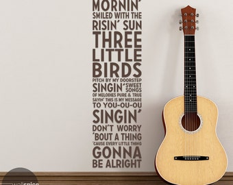 Bob Marley Three Little Birds Song Lyrics Subway Art Mural Reggae Music Vinyl Wall Decal Sticker