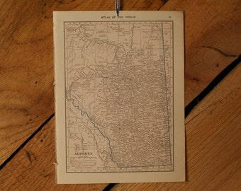 "1921 - Alberta Map - Antique Atlas Map 6"" x 8"""