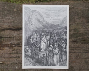 1893 - Desert March of Israelites Antique Print - Bookplate from Great Races of Manking