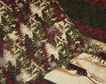 Cozy, Moda Northwoods Christmas, Picturesque Quilt in Deep Cranberry Red, Forest Green and Cream