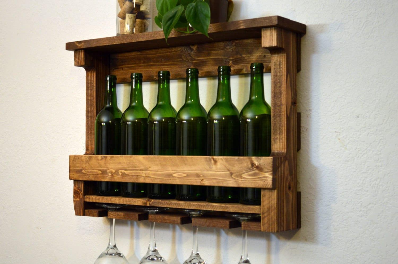 Glass Shelf Wall Decor : Wine rack bottle glass holder shelf wall by rusticmoderndecor