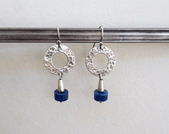 Lapis earrings , sterling silver , Dangle Hoop Earrings , Lapis Lazuli , Hammered earrings , Blue stone earrings
