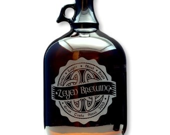 Personalized Homebrew growler with  Irish Celtic Knot Brewing engraved Label Growler. personalized glass, Beer Glass