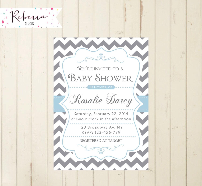 grey baby shower invitation chevron baby blue and gray invite
