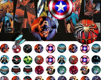Marvel 12mm - 1/2 inch or 12 mm Images 4x6 Digital Collage INSTANT DOWNLOAD