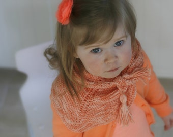 KNITTING PATTERN shawl wrap Sara (toddler, child, adult sizes) with tassels