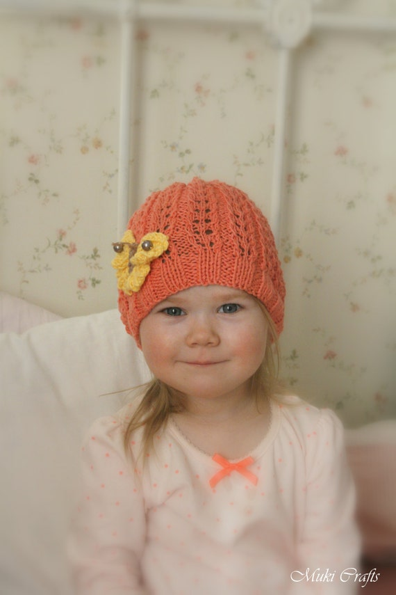 Ivy Lace Knitting Pattern : KNITTING PATTERN summer lace beanie hat Ivy with knitted