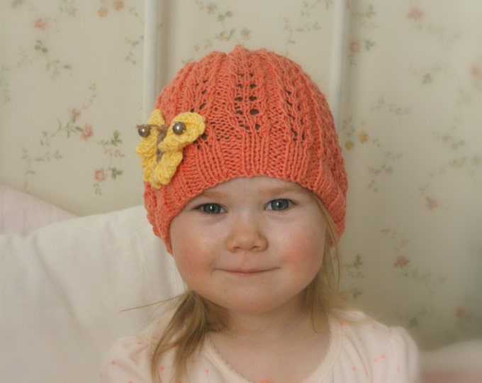 KNITTING PATTERN summer lace beanie hat Ivy with knitted butterfly (baby, toddler, child, adult sizes)